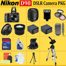 Nikon D90 SLR Digital Camera with 28-80mm Lens + Huge Accessories Package Including Wide Angle Macro Lens + 2x Telephoto + 3 Pc Filter KIT + 8gb Sdhc Memory Card + 2x Extended Life Batteries + Carrying Case + Tripod & Much More!!