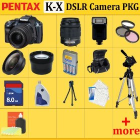 Pentax K-x Digital SLR Camera Kit (Blue), with 18-55mm Da Lens + Huge Accessories Package Including Wide Angle Macro Lens + 2x Telephoto + 3 Pc Filter KIT + 8gb Sdhc Memory Card + Aa Batteries with Charger + Carrying Case + Tripod & Much More!!