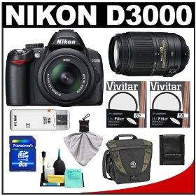 Nikon D3000 Digital SLR Camera & 18-55mm G VR DX AF-S & 55-300mm VR Zoom Lens + 8GB Card + Filters + Tamrac Case + Accessory Kit