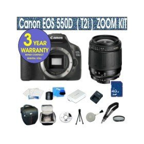 Canon EOS 550D 18 MP Digital SLR Camera with Tamron 29-80mm Zoom Lens + UV Filter + 4 GIG Memory Card + Holster Case + 6 Piece Starter Kit + 3 Year Celltime Warranty Repair Package