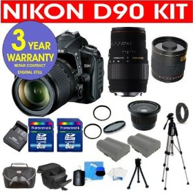 Nikon D90 12.3MP Digital SLR Camera with Accessory Kit