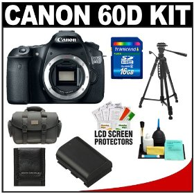 Canon EOS 60D Digital SLR Camera Body with 16GB Card + Battery + Case + Tripod + Accessory Kit