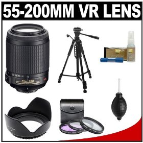 Nikon 55-200mm f/4-5.6G ED IF AF-S DX VR [Vibration Reduction] Telephoto Zoom Lens with Tripod + 3 UV/FLD/CPL Filters + Lens Hood & Nikon Cleaning Kit for Nikon D40, D40x, D60, D90, D3000, D3100, D5000, D7000 & D300S Digital SLR Camera