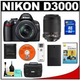 Nikon D3000 - Digital camera - SLR - 10.2 Mpix - Nikon AF-S DX 18-55mm and 55-200mm VR lenses - optical zoom: 3 x - supported memory: SD, SDHC
