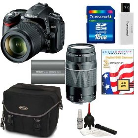 Nikon D90 Digital SLR Camera with 18-105mm AF-S DX VR Nikkor Lens [Outfit] + Nikon 70-300mm Lens + Transcend 16GB Memory Card + Willoughbys Bonus Kit