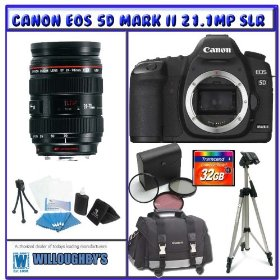Canon EOS 5D Mark II 21.1MP Digital SLR (Body Only) + Canon EF 24-70mm f/2.8L USM Zoom Wide Angle-Telephoto Lens + 32GB + Digital Photo Professional K#2