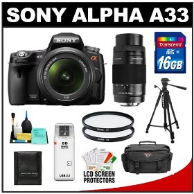 Sony Alpha A33 SLTA33L 14.2 MP Translucent Mirror Technology Digital SLR Camera & 18-55mm & 75-300mm Lenses + 16GB Card + Tripod + Case + UV Filters + Accessory Kit