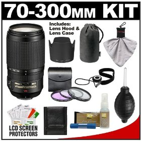 Nikon 70-300mm f/4.5-5.6G ED IF AF-S VR Digital SLR Zoom Lens with HB-36 Hood & Pouch Case + 3 UV/FLD/CPL Filters + Accessory Kitfor D3000, D3100, D5000, D7000, D90, D300s, D700 & D3S DSLR
