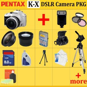 Pentax K-x Digital SLR Camera Kit (White), with 18-55mm Da Lens + Huge Accessories Package Including Wide Angle Macro Lens + 2x Telephoto + 3 Pc Filter KIT + 8gb Sdhc Memory Card + Aa Batteries with Charger + Carrying Case + Tripod & Much More !!