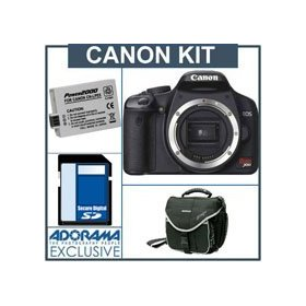 Canon EOS Digital Rebel XSi SLR Camera Kit, Black with 4GB SD Memory Card, Spare LP-E5 Lithium-Ion Rechargeable Battery, Slinger Camera Bag