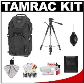 Tamrac 5786 Evolution 6 Photo Digital SLR Camera Sling Backpack (Black) + Tripod + Canon Cleaning Kit for Rebel XSi, XS, T1i, T2i, EOS 60D, 50D, 5D, 7D, 1D, 1DS