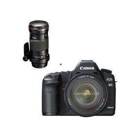 Canon EOS-5D Mark II Digital SLR Camera Body Kit with EF 24-105L IS & EF 180mm f/3.5L Macro USM AutoFocus Telephoto Lens