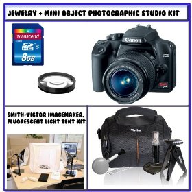 Canon EOS Rebel XS SLR Digital Camera (Black) w/ Canon EF-S 18-55mm f/3.5-5.6 IS Autofocus Lens + Jewelry PLUS Mini Objects Photographic Studio Lighting Kit