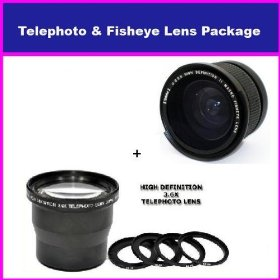 3.6X HD Professional Telephoto lens & 0.35x HD Super Wide Angle Panoramic Macro Fisheye Lens For Panasonic Lumix DMC-FZ5 FZ7