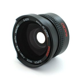 Zykkor 0.42x 37mm Titanium Super Wide Angle Fisheye Lens with Macro - Black - Made in Japan