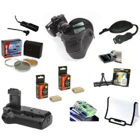 Opteka Pro Shooter Accessory Kit with Battery Grip, Extra Batteries, Filters, Remote, Case, & More for the Canon EOS Digital Rebel XS & XSi Digital SLR Cameras