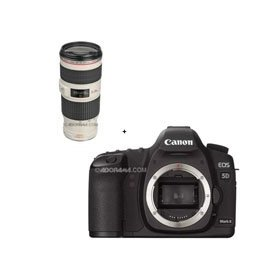 Canon EOS-5D Mark II Digital SLR Camera Body with EF 70-200mm f/4L IS USM Autofocus Telephoto Zoom Lens