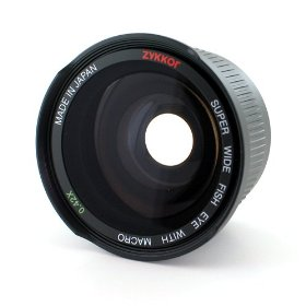 Zykkor 0.42x 52mm Titanium Super Wide Angle Fisheye Lens with Macro - Black - Made in Japan