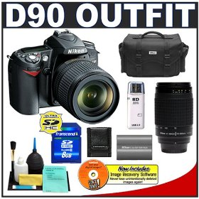 Nikon D90 Digital SLR Camera with 18-105mm AF-S DX VR Nikkor Lens [Outfit] + Nikon 70-300mm Lens + 8GB Cameta Bonus Accessory Kit