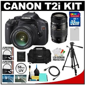 Canon EOS Rebel T2i Digital SLR Camera Body & EF-S 18-55mm IS Lens (Black) with Tamron 70-300mm Lens + 32GB Card + Battery + Canon 2400 DSLR Gadget Bag Case + Tripod + HDMI Cable + Filters Kit