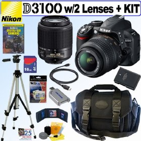 Nikon D3100 14.2MP Digital SLR Camera with 18-55mm f/3.5-5.6G AF-S DX VR and 55-200mm f4-5.6G ED AF-S DX Zoom-Nikkor Lenses + 16GB Deluxe Accessory Kit