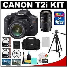 Canon EOS Rebel T2i Digital SLR Camera Body & EF-S 18-55mm IS Lens (Black) with Tamron 70-300mm Lens + 16GB Card + Battery + Canon 2400 DSLR Gadget Bag Case + Tripod + Filters + Accessory Kit