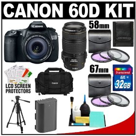 Canon EOS 60D Digital SLR Camera with EF-S 18-135mm IS USM Lens & 70-300mm IS USM Lens + 32GB Card + Battery + Canon 2400 DSLR Gadget Bag Case + Tripod + Accessory Kit