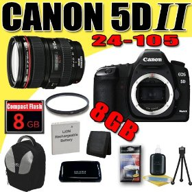 Canon EOS 5D Mark II 21.1MP Digital SLR Camera w/ EF 24-105mm f/4 L IS USM Lens DavisMAX LPE6 Battery UV 8GB deluxe BackPack Bundle