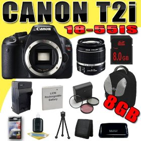 Canon EOS Rebel T2i 18 MP CMOS APS-C Digital SLR Camera w/ EF-S 18-55mm f/3.5-5.6 IS Lens DavisMAX LPE8 Battery/Charger Filter Kit 8GB Backpack Bundle