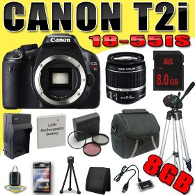 Canon EOS Rebel T2i 18 MP CMOS APS-C Digital SLR Camera w/ EF-S 18-55mm f/3.5-5.6 IS Lens DavisMAX LPE8 Battery/Charger Filter Kit Tripod 8GB Bundle