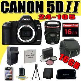 Canon EOS 5D Mark II 21.1MP Digital SLR Camera w/ EF 24-105mm f/4 L IS USM Lens DavisMAX LPE6 Battery/Charger Filter Kit 16GB Bundle