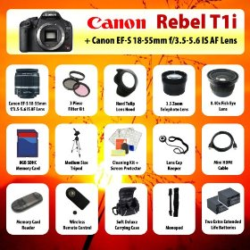 Canon EOS Rebel T1i (550D) Digital SLR + 18-55mm Lens + 3.5x Telephoto Lens + 0.40 Fish-Eye Lens + Filter Kit + 8GB SD + Card Reader + 2 Extra Batteries + Case + Mini HDMI Cable + Tripod + Monopod + Starter Kit + MORE!
