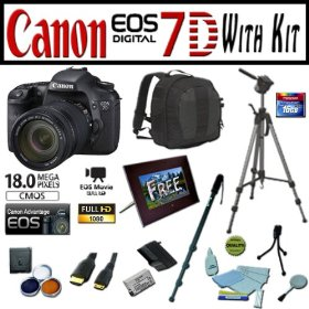 Canon EOS 7D 18.0 MP Digital SLR Camera Advanced Starter Holiday Kit with EF-S 18-135mm f/3.5-5.6 IS, Opteka 7