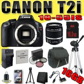 Canon EOS Rebel T2i 18 MP CMOS APS-C Digital SLR Camera w/ EF-S 18-55mm f/3.5-5.6 IS Lens DavisMAX LPE8 Battery/Charger Filter Kit Tripod 16GB Bundle