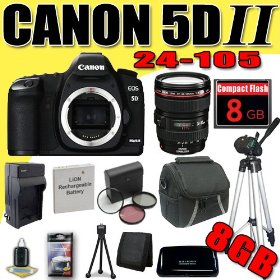 Canon EOS 5D Mark II 21.1MP Digital SLR Camera w/ EF 24-105mm f/4 L IS USM Lens DavisMAX LPE6 Battery/Charger Filter Kit Tripod 8GB Bundle