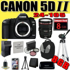 Canon EOS 5D Mark II 21.1MP Digital SLR Camera w/ EF 24-105mm f/4 L IS USM Lens DavisMAX LPE6 Battery/Charger Filter Kit Tripod 8GB deluxe BackPack Bundle