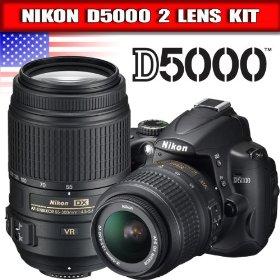 Nikon D5000 12.3 MP DX Digital SLR Camera with 18-55mm f/3.5-5.6G VR Lens and 2.7-inch Vari-angle LCD + Nikon 55-300mm f/4.5-5.6G ED VR AF-S DX NIKKOR Lens for Nikon Digital SLR