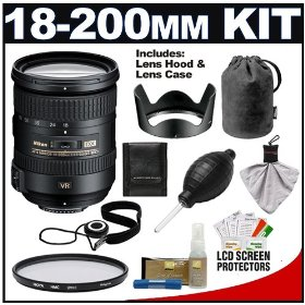 Nikon 18-200mm f/3.5-5.6G AF-S VR II ED Lens with HB-35 Hood & Pouch Case + UV Filter for for Nikon D60, D90, D3000, D3100, D5000, D7000, D300S, D700 & D3S Digital SLR Cameras