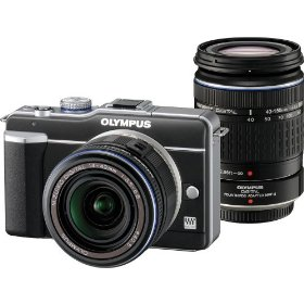 Olympus E-PL1 - Digital camera - mirrorless system - 12.3 Mpix - Olympus M.Zuiko Digital 14-42mm and Zuiko Digital 40-150mm lenses - optical zoom: 3 x - supported memory: SD, SDHC - black