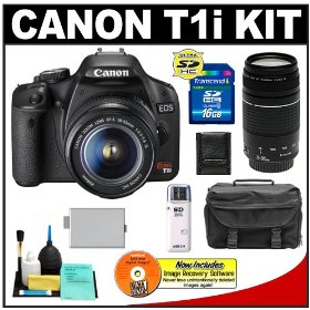 Canon EOS Rebel T1i 15.1MP Digital SLR Camera (Black) with Canon EF-S 18-55mm IS + 75-300mm f/4-5.6 III Lens + 16GB Card + LP-E5 Battery + Case + Accessory Kit