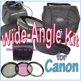 Wide-Angle Kit for CANON XT, XTi,XS,XSi,T1i dSLRs and the 18-55mm Lens