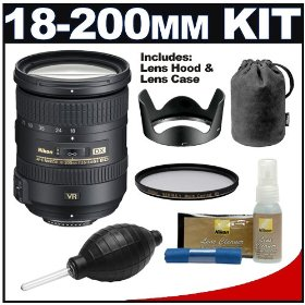 Nikon 18-200mm f/3.5-5.6G AF-S VR II ED Lens with HB-35 Hood & Pouch Case + UV Filter Kit for Nikon Digital SLR Cameras