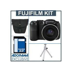 Fujifilm FinePix S2550 Digital Camera Kit - Black - With 4GB SD Memory Card, Camera Case, Table Top Tripod,