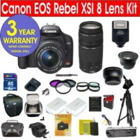 Canon EOS XSi 12.2 MP Digital SLR Camera with 8 Lens Deluxe Camera Outfit (BLACK)