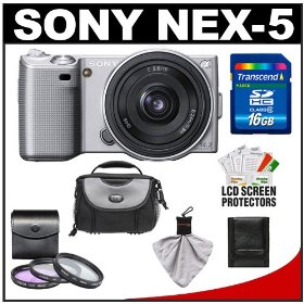 Sony Alpha NEX-5 Digital Camera Body & E 16mm f/2.8 Compact Interchangeable Lens (Silver) with 16GB Card + Battery + Case + Accessory Kit