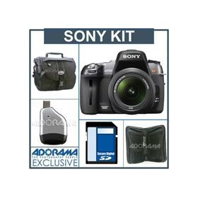 Sony a550 DSLR Camera/ Lens Kit, with 18-55mm DT Zoom Lens, 8GB SD Memory Card, Camera System Bag, Digital Memory Case(4), USB 2.0 SD Card Reader