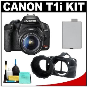 Canon EOS Rebel T1i 15.1MP Digital SLR Camera (Black) & EF-S 18-55mm IS Lens with LP-E5 + Camera Armor + Cleaning Kit
