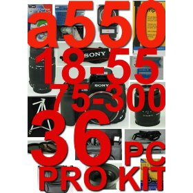 Sony DSLR-a550L 36 Piece Pro Deluxe Kit With Sony DT 18-55mm & Sony 75-300mm ,5 Years warranty +++