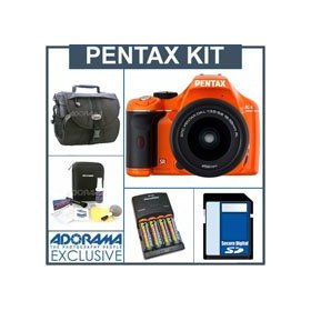 Pentax K-x Digital SLR Orange Camera Kit with Black 18-55mm DA-L Lens, 4GB SD Memory Card, 4 AA Nickel Metal Hydride (NiMH) 2900 mAH Rechargeable Batteries with 4-Hour AA & AAA Quick Charger, 110/220 volt. Camera Bag, Digital Camera & Lens Cleaning Kit