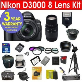 Nikon D3000 10.2 MP Digital SLR Camera with 8 Lens Deluxe Camera Outfit